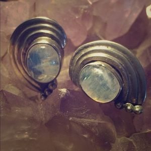 Jewelry - NEW- Rainbow Moonstone & Sterling Earrings